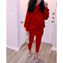 Casual Solid Hoodies Two Piece Pants Set HHF-9059