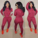 Plus Size Fashion Casual Solid Color Ripped Hole Sports Two Piece Set FNN-8543