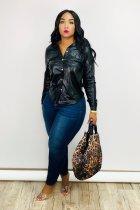 Fashion Long Sleeve PU Leather Shirt Top OY-6233