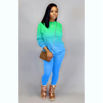 Fashion Casual Gradient Long Sleeve Pants Two Piece Set ZLF-817