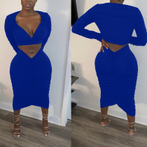 Sexy V Neck Ruched Skirt Two Piece Sets BGN-123