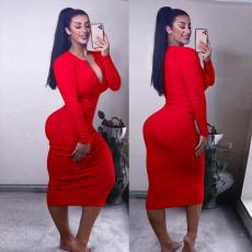 Solid Sexy Ribbed Long Sleeve Slim Long Dress TE-4139