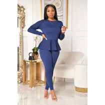Plus Size Solid Long Sleeve Lace Up 2 Piece Pants Set YIY-5228