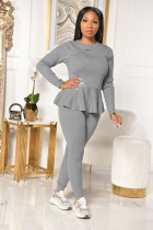Solid Long Sleeve Lace Up 2 Piece Pants Set TR-1085