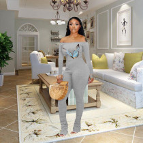 Sexy Off Shoulder Long Sleeve Butterfly Print Ruched Jumpsuit TMF-5008