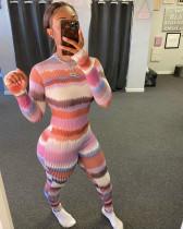 Sexy Striped Rib Long Sleeve Bodycon Jumpsuit WSM-5205