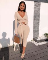Sexy Casual Lace-Up Long Sleeve Two Piece Set SZF-6002