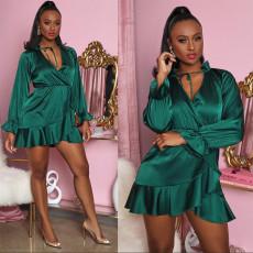 Sexy Elegant Green Long Sleeve Dress SZF-6014