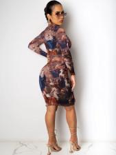 Plus Size 4XL Sexy Printed Long Sleeve Bodycon Dress OM-1181
