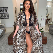 Sexy Short Sleeve Leopard Print Maxi Dress SZF-6003