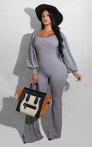 Solid Lantern Sleeve Ribbed Jumpsuits YNB-7133