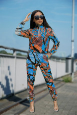 Fashion Long Sleeve Trousers Printed Two Piece Set SZF-6020