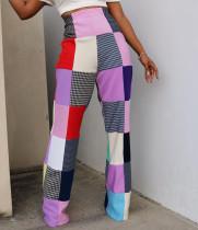 Colorful Plaid Long Boot Cut Pants MDF-5181