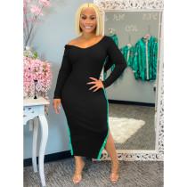 Plus Size Sexy V Neck Long Sleeve Split Long Dress SHE-7224