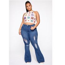 Plus Size 5XL Fat MM Denim Ripped Hole Flared Jeans HSF-2333