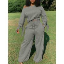 Solid Sweatshirt Wide Leg Pants Two Piece Suits CM-784