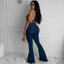 Plus Size Denim Deep V Backless Cross Strap Flared Jumpsuit LX-6041