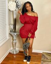 Sexy Slash Neck Lace Up Long Sleeve Mini Dress LSL-6395