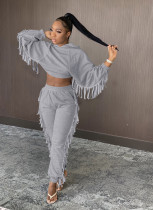 Casual Tassel Hooded Long Sleeve 2 Piece Sets YIS-937