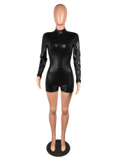 Plus Size PU Leather Sexy Skinny Romper MK-3035