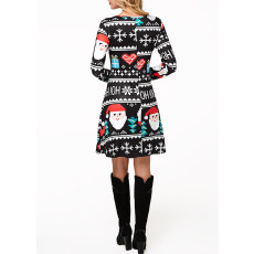 Christmas Printed Long Sleeve Mini Dress MEM-8173