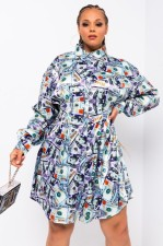 Casual Printed Long Sleeve Shirt Dress HM-6357