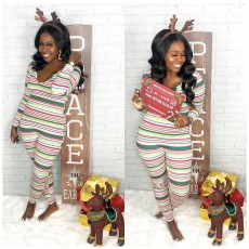 Casual Striped Long Sleeve One Piece Jumpsuit MK-3036
