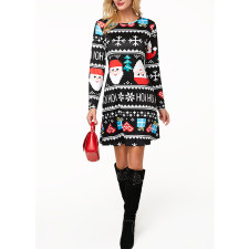 Christmas Printed Long Sleeve Mini Dress MEM-8173