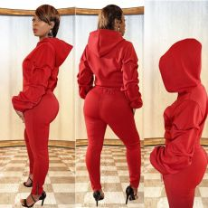 Solid Color Letter Print Pile Sleeve Hoodie Sports Two Piece Set TMF-5011