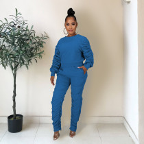 Solid Ruched Long Sleeve Two Piece Pants Set ZKF-1040