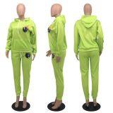 Fashion Casual Cartoon Print Sports Sweatshirt Two Piece Set OXF-8009