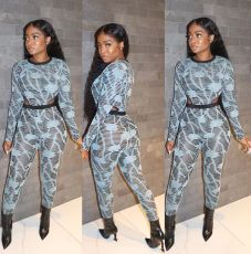 Fashion Casual Print Long Sleeve Bodysuit And Pants Two Piece Set SIF-0027