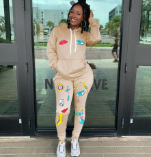 Fashion Sports Print Long Sleeve Hoodie And Trouser Two Piece Set SIF-0024