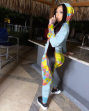 Map Printing Hoodies And Leggings Pants Tracksuit Two Piece Set NLF-8025