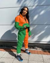 Casual Fashion Contrast Color Spliced Sweatshirts Two Piece Set NLF-8028