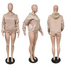 Solid Color Plush Puff Sleeve Hoodie Sweatshirts XMF-022