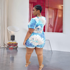 Plus Size Casual Printed Short Sleeve 2 Piece Sets FENF-005