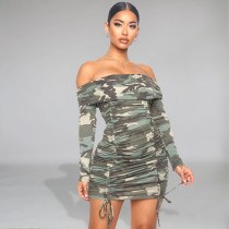 Sexy Camo Print Slash Neck Ruched Mini Dress FENF-019