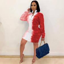 Plus Size Gradient Long Sleeve Casual Mini Dress SHE-7228