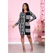 Plus Size Geometric Print Long Sleeve Bodycon Dress SHE-7226