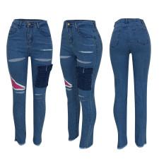 Denim Ripped Hole Skinny Jeans Pants FENF-012
