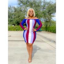 Plus Size Sexy Striped Slash Neck Bodycon Dress SHE-7225
