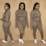Solid Color Simple Casual Long Sleeve Pants Two Piece Set CL-6089