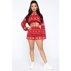 Sexy Fashion Christmas Print Long Sleeve Top And Shorts Suit SHE-7154