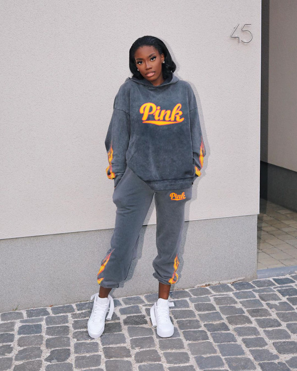 Fashion Pink Letter Flame Print Sports Casual Hooded Sweatshirts Suit ANNF-6012
