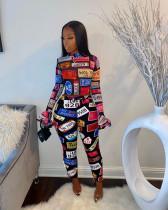 Fashion Tight Printed Long Sleeve Pants Two Piece Set YUHF-8004