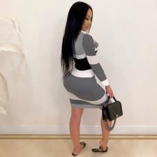Sexy Rib V Neck Bow Tie Long Sleeve Bodycon Dress CHY-1271