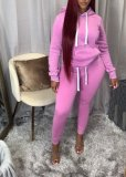 Fashion Casual Solid Color Hooded Sweatshirts Suit ANNF-6009