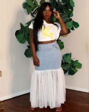 Fashion Mesh Spliced Denim Skirt OLYF-6005