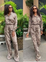 Fashion Print Long Sleeve Blouse And Pants Two Piece Set YUHF-8011